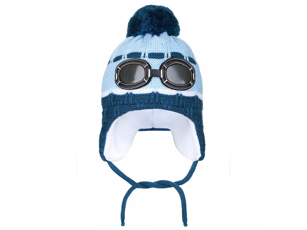 Zimní dětská čepička New Baby brýle světle modrá