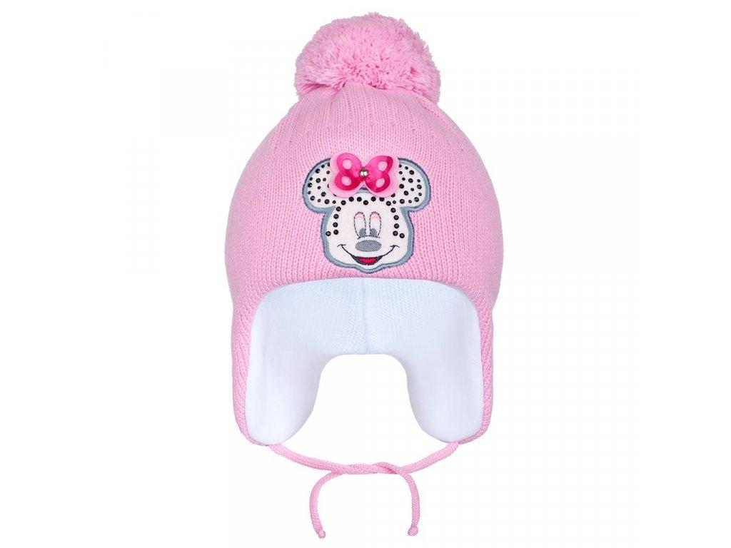 Zimní dětská čepička New Baby Minnie tmavě růžová