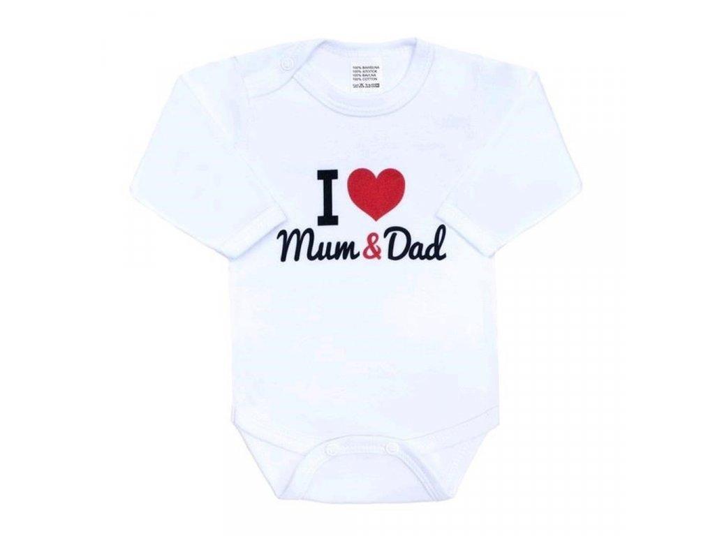 Body s potiskem New Baby I Love Mum and Dad