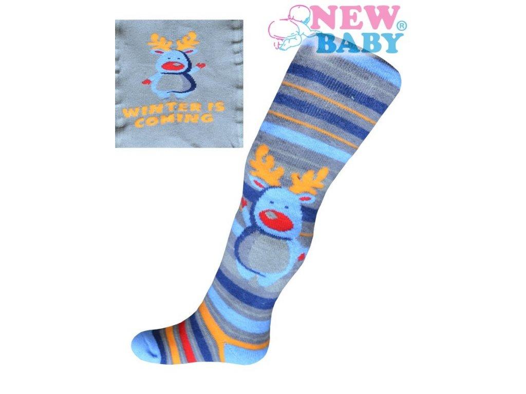 Froté punčocháčky New Baby šedé s modrým sobem