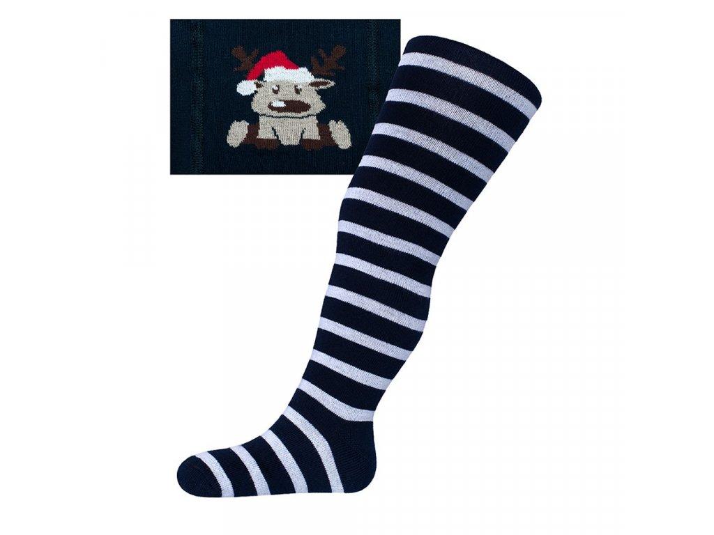 Vánoční bavlněné punčocháčky New Baby tmavě modré se sobem