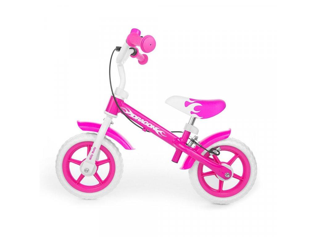Dětské odrážedlo kolo Milly Mally Dragon s brzdou pink