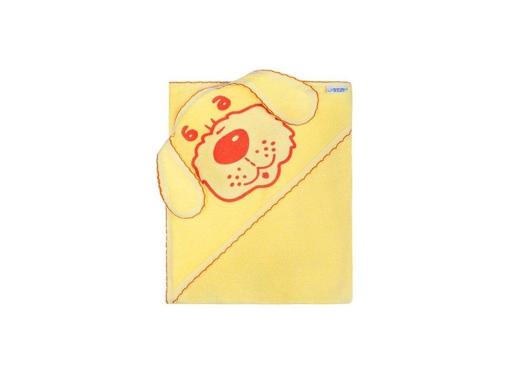 Dětská froté osuška 80x80 pejsek žlutá