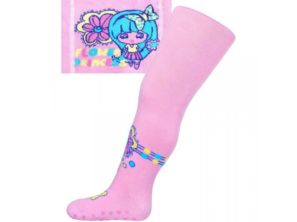 Bavlněné punčocháčky New Baby s ABS světle růžové flower princess
