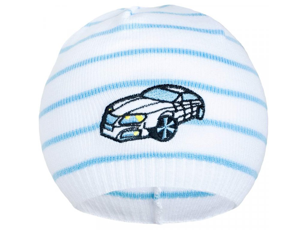 Jarní čepička New Baby s autíčkem bílo-modrá