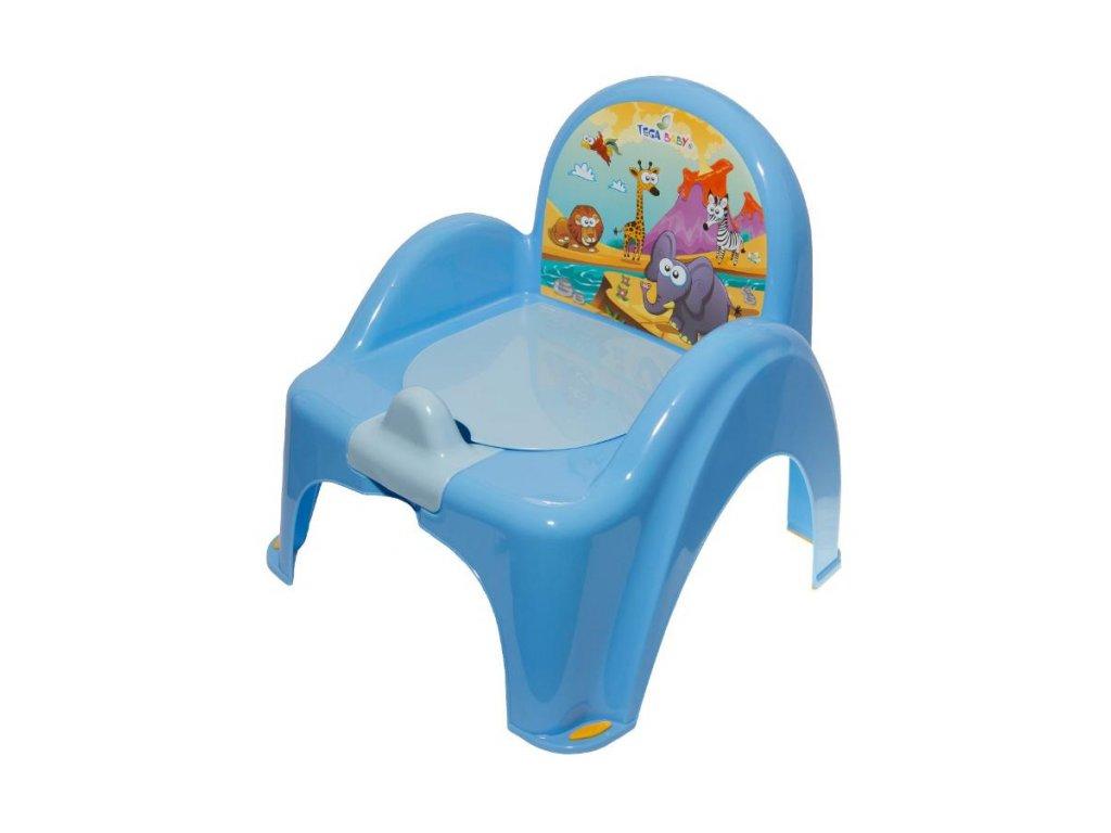 Dětský nočník s poklopem modrý safari