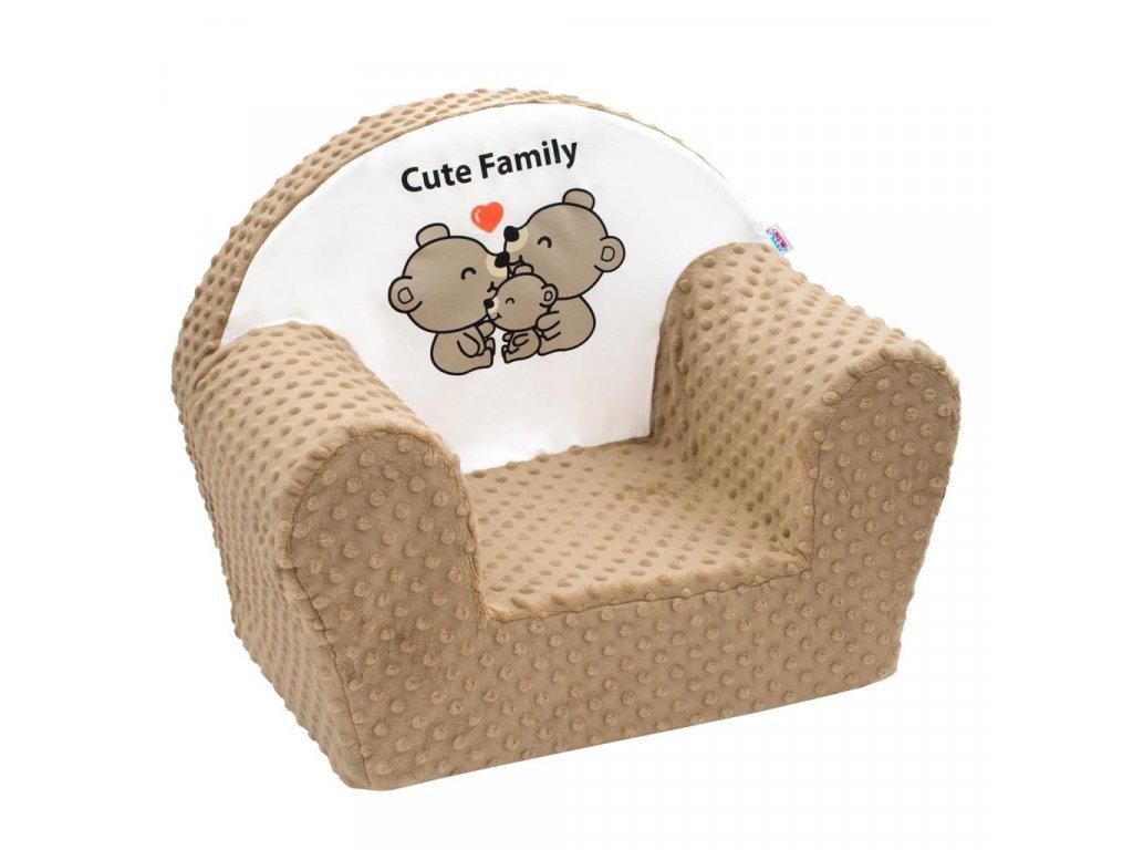 Dětské křeslo z Minky New Baby Cute Family cappuccino