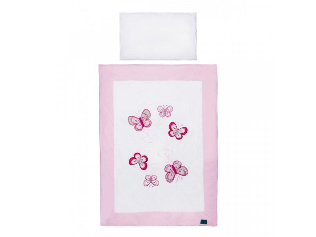 2-dílné ložní povlečení Belisima Motýlek 100/135 růžové