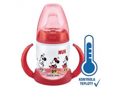 Kojenecká láhev na učení NUK Disney Mickey s kontrolou teploty 150 ml červená