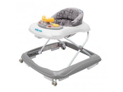 Dětské chodítko Baby Mix s volantem a silikonovými kolečky tmavě šedý