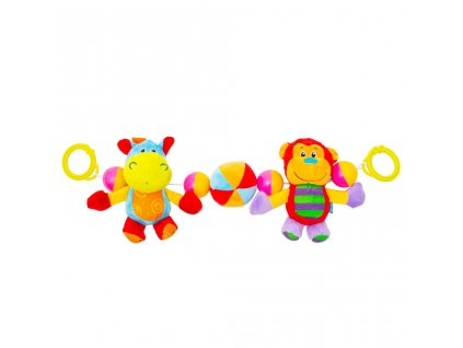 Dětské plyšové chrastítko do kočárku Baby Mix hrošík a opička