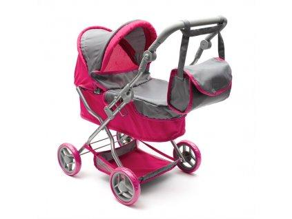 Hluboký kočárek pro panenky PlayTo Viola růžovo šedý