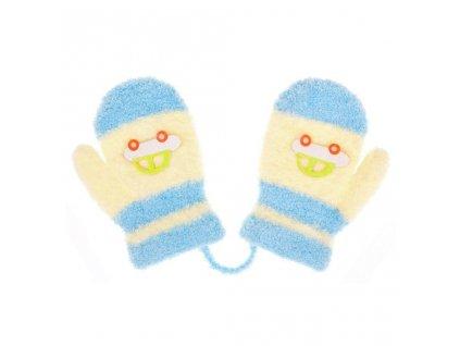 Dětské rukavičky New Baby s autem světle modro-žluté