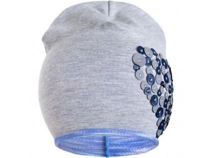 Jarní čepička New Baby srdíčko šedo-fialová