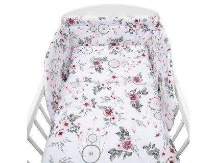 3-dílné ložní povlečení New Baby 90/120 cm bílé květy a pírka