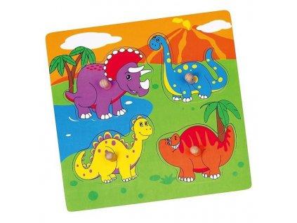 Dřevěné puzzle s úchyty pro nejmenší Viga Dino