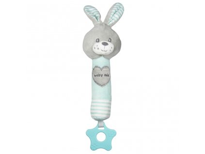 Dětská pískací plyšová hračka s kousátkem Baby Mix králík mátový