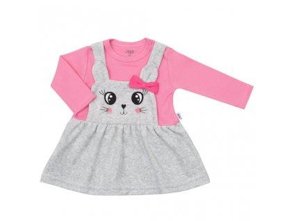 Kojenecké semiškové šatičky New Baby For Babies růžové