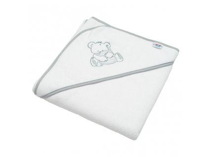 Dětská froté osuška s výšivkou a kapucí New Baby 80x80 bílá medvěd