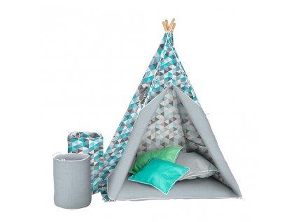 Dětský luxusní stan s výbavou Teepee Akuku tyrkysovo-šedý