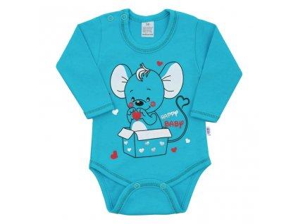 Kojenecké body s dlouhým rukávem New Baby Mouse tyrkysové