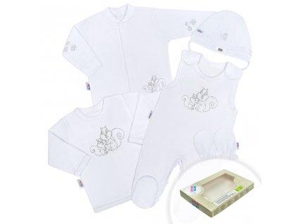 5-dílná soupravička New Baby Veverky v krabičce bílá