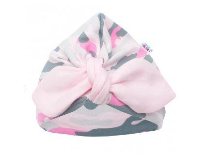 Kojenecká bavlněná čepička turban New Baby With Love růžová