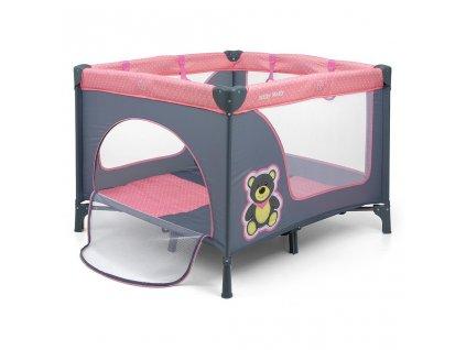 Dětská skládací ohrádka Milly Mally Fun Pink Bear