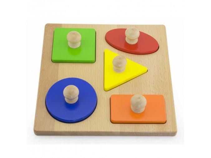 Dřevěné vkládací puzzle razítka Viga Tvary