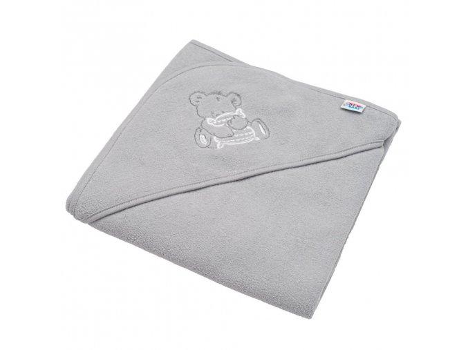 Dětská froté osuška s výšivkou a kapucí New Baby 80x80 šedá medvěd