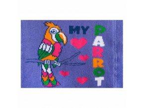 Froté punčocháčky New Baby fialové s papouškem
