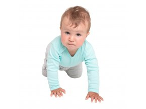 Kojenecké celorozepínací body New Baby Classic II s modrými pruhy