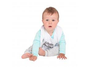 Kojenecký bavlněný bryndák New Baby mama+ocko=JA modrý
