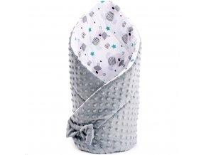 Oboustranná Zavinovačka z Minky New Baby 75x75 cm teddy šedá hvězdičky tyrkysové