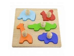 Dřevěné vkládací puzzle razítka Viga Zvířata