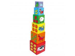 Dřevěná edukační pyramida kostky pro děti Viga