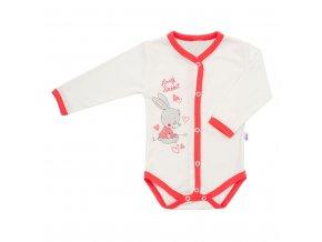 Dětské celorozepínací body New Baby Lovely Rabbit růžové