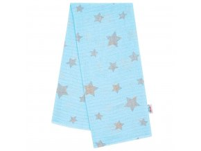 Bavlněná plena s potiskem New Baby modrá s šedými hvězdami