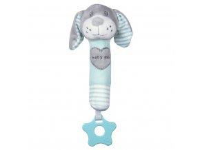 Dětská pískací plyšová hračka s kousátkem Baby Mix pes mátový