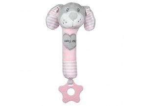 Dětská pískací plyšová hračka s kousátkem Baby Mix pes růžový