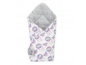 Oboustranná zavinovačka z Velvet New Baby 75x75 cm lapač snů šedá