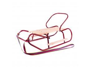Kovové sáňky s opěradlem a opěrkami na nohy BAYO červené