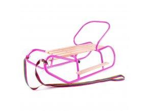 Kovové sáňky s opěradlem a opěrkami na nohy BAYO růžové