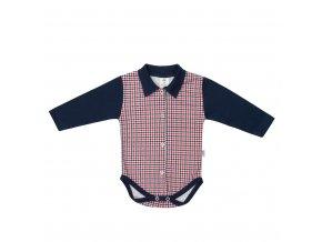 Kojenecké celorozepínací Polo body New Baby Checkered modré