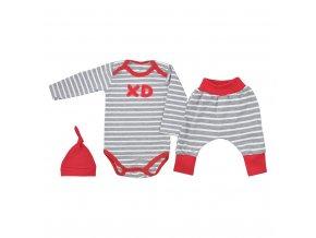 3-dílná bavlněná kojenecká souprava Koala XD červená