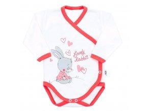 Dětské body s bočním zapínáním New Baby Lovely Rabbit růžové