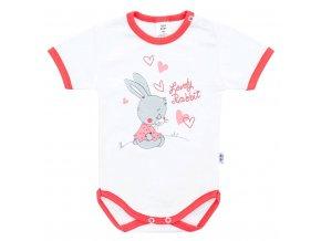 Dětské body s krátkým rukávem New Baby Lovely Rabbit růžové