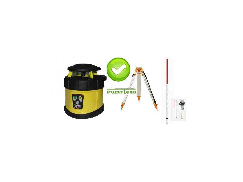 Rotační laser FKD FRE205G - zelený paprsek a stativ a lať