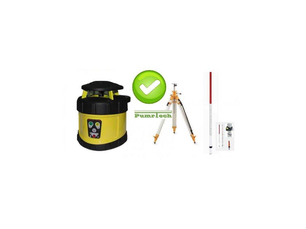 Rotační laser FKD FRE205G - zelený paprsek a stativ s klikou a lať