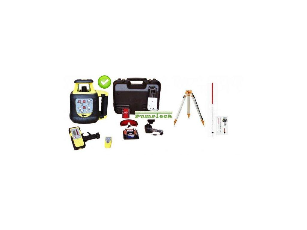 Rotační laser FKD FRE208G - zelený paprsek + stativ a lať